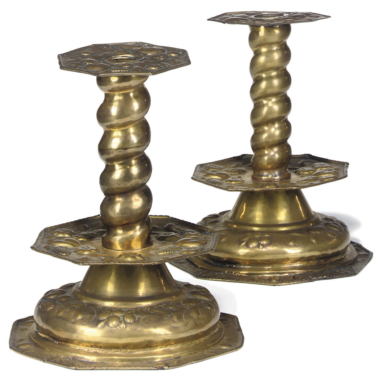 A PAIR OF SWEDISH BRASS CANDLE