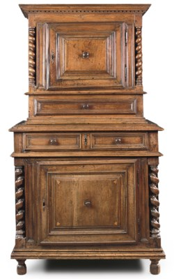 A FRENCH WALNUT MEUBLE A DEUX
