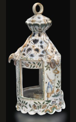 A MOUSTIERS FAIENCE CANDLE-HOL