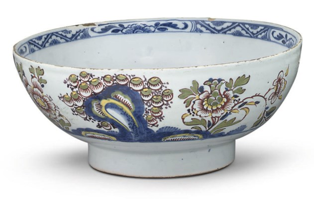 A LONDON DELFT POLYCHROME BOWL