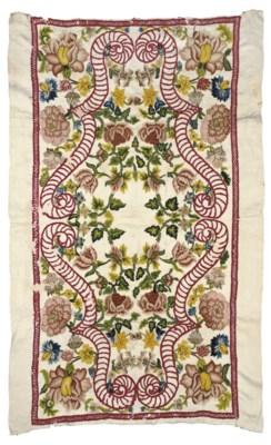 A CREWELWORK COVER, FRENCH