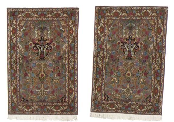 A pair of very fine part silk