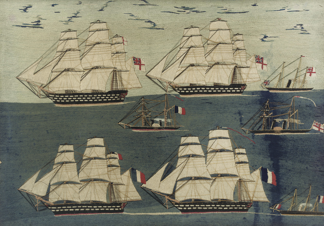 A LARGE SHIP'S WOOLWORK PICTUR