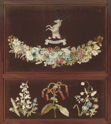 A VICTORIAN FOLDING SCREEN WIT