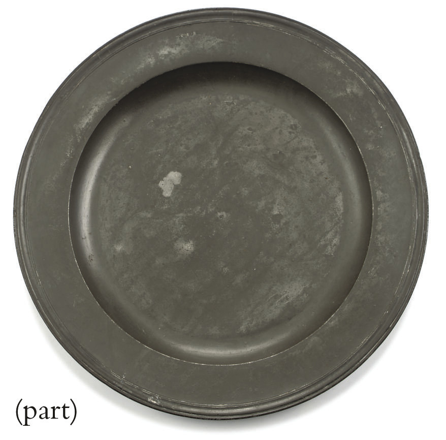 A PEWTER TRIPLE-REEDED RIM CHA