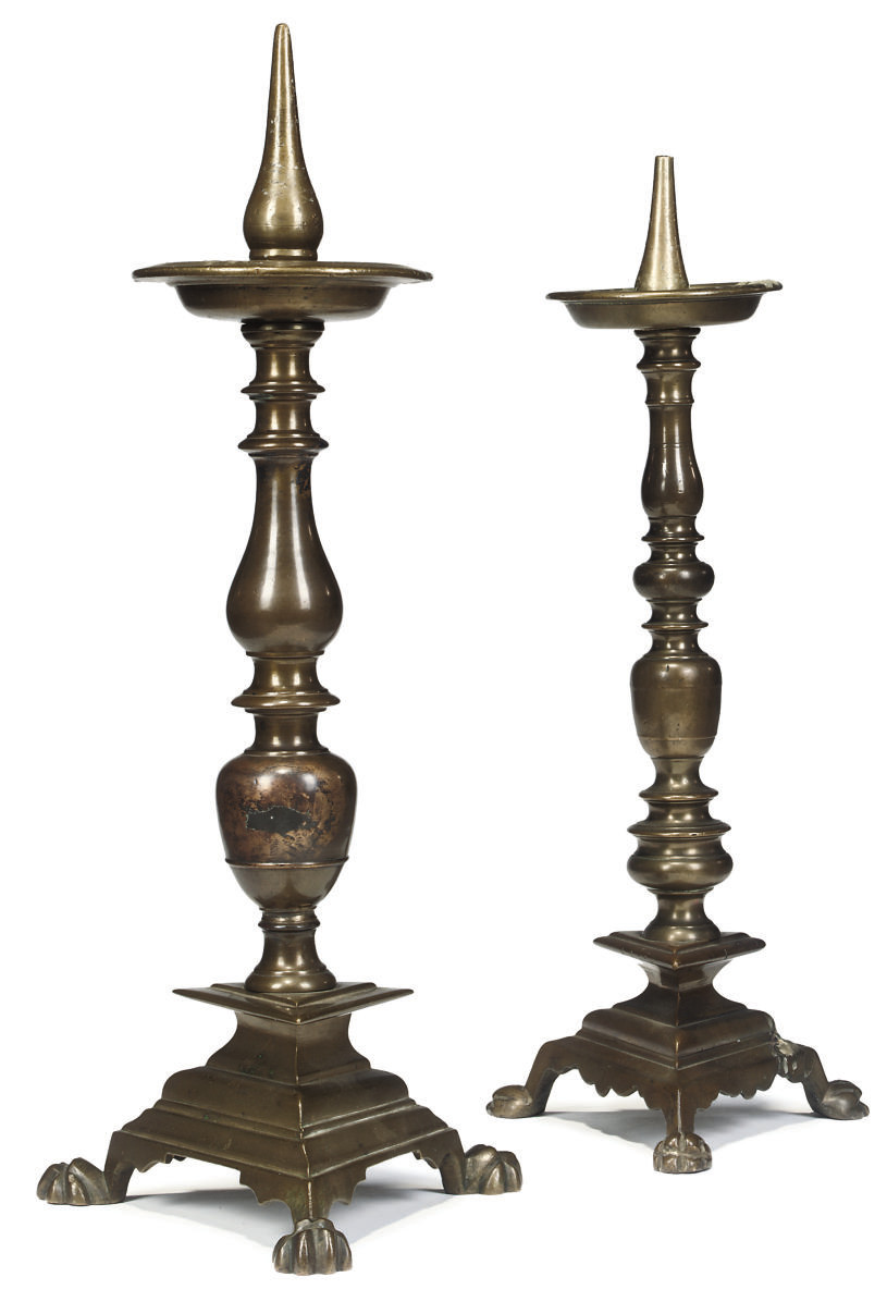 TWO ITALIAN BRASS PRICKET CAND