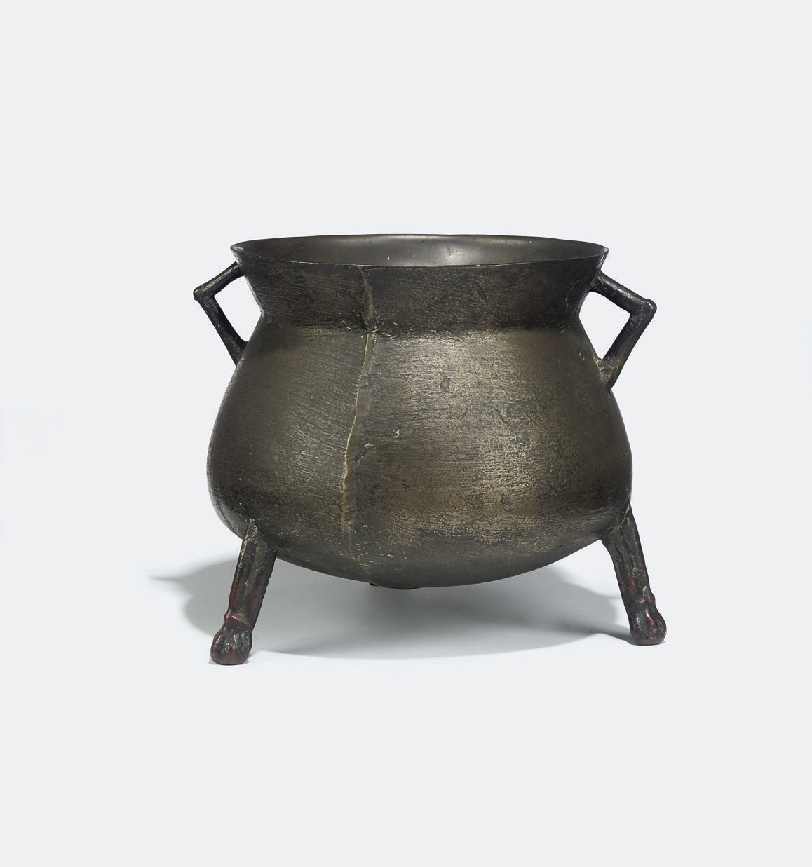 AN ENGLISH BRONZE CAULDRON