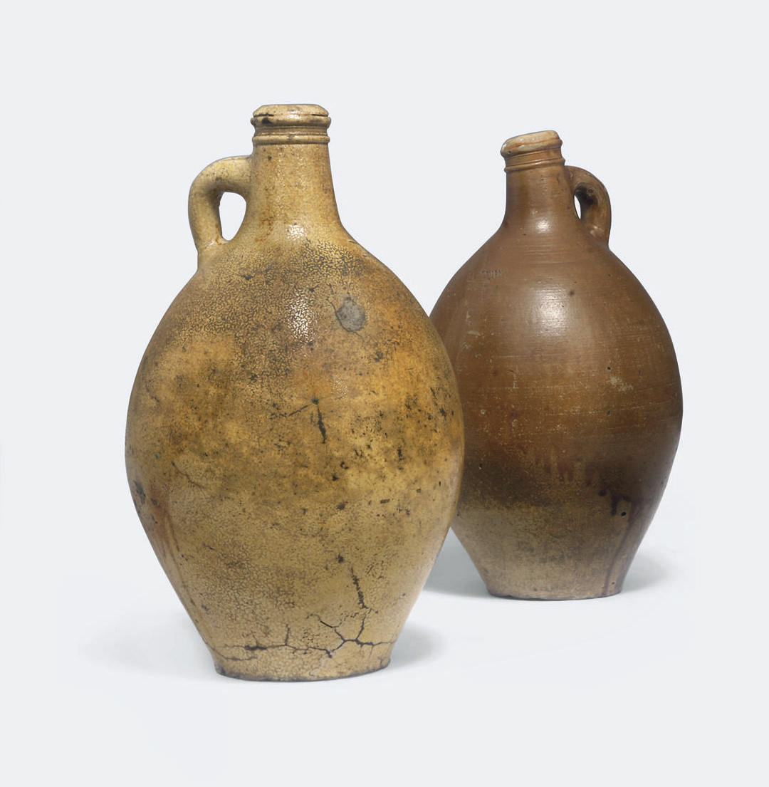 TWO GERMAN STONEWARE BELLARMIN