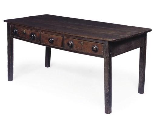 A DEVON OAK FARMHOUSE TABLE