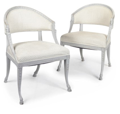 A PAIR OF GUSTAVIAN GREY PAINT