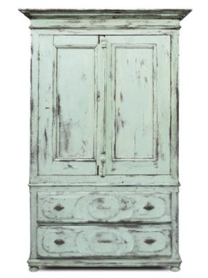 A FRENCH PAINTED LINEN PRESS