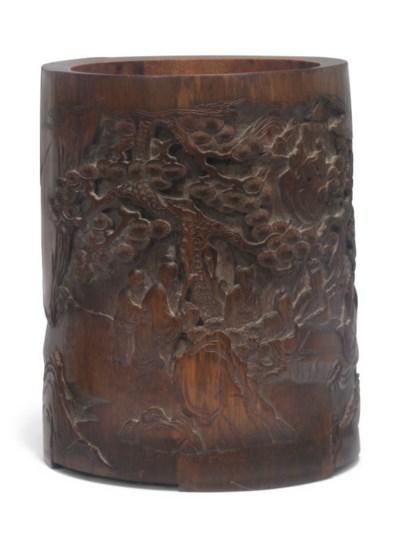 A Chinese bamboo brushpot