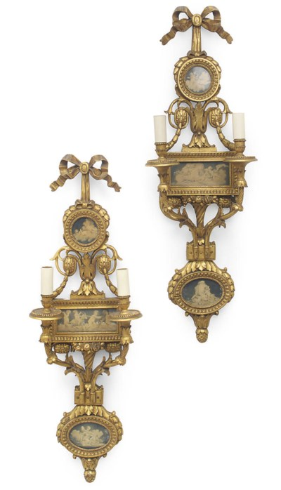 A PAIR OF GILT-WOOD WALL APPLI