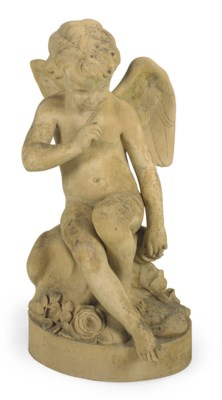 A TERRACOTTA FIGURE 'AMOUR AU