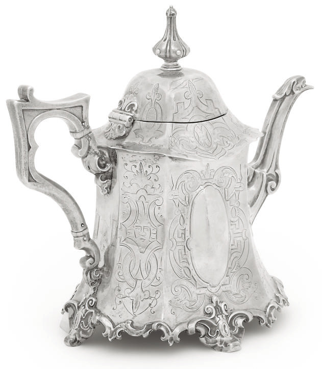 A VICTORIAN SILVER OCTAGONAL T