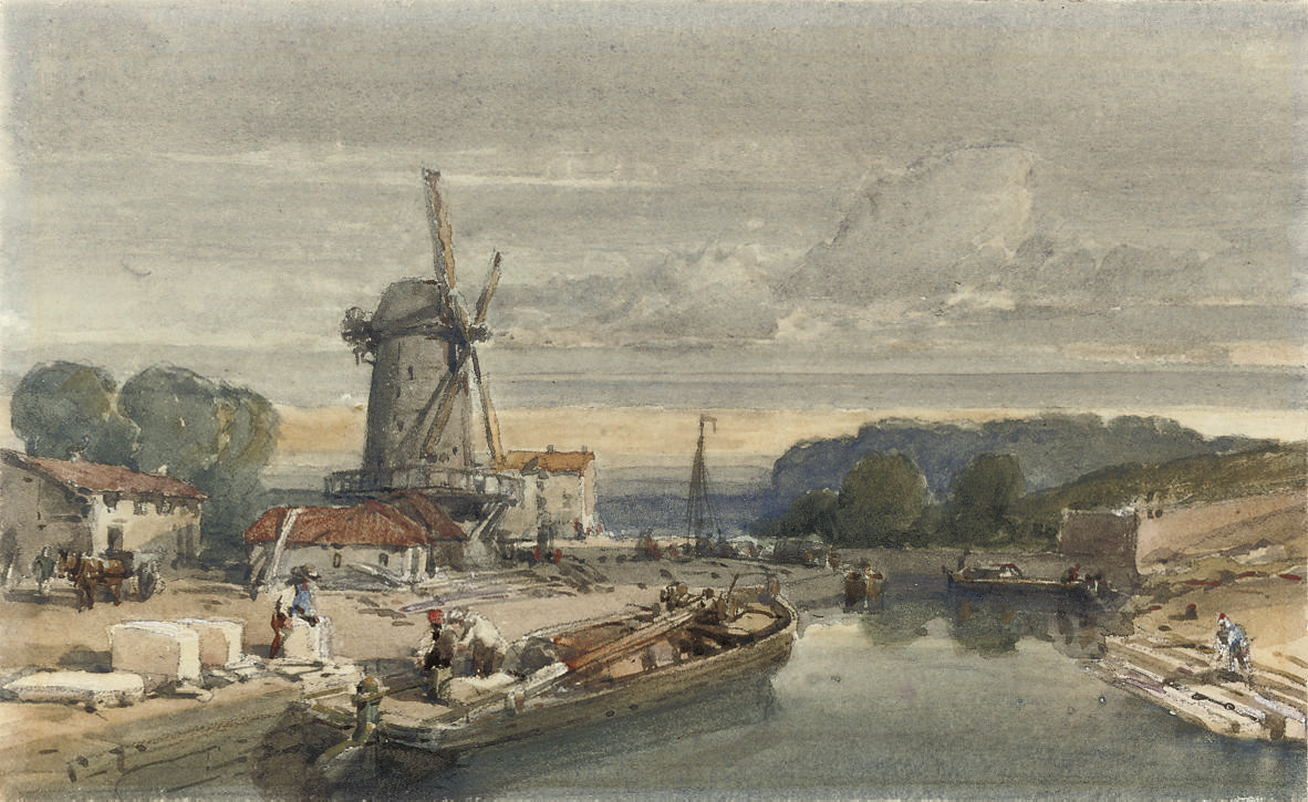 Figures loading a barge before a windmill (illustrated); and A Border castle