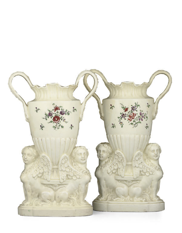 A PAIR OF ENGLISH CREAMWARE VA