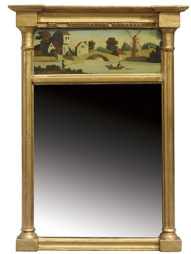 A REGENCY GILT-WOOD WALL-MIRRO