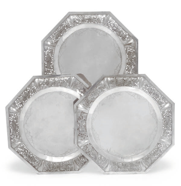 Six Chinese octagonal silver d