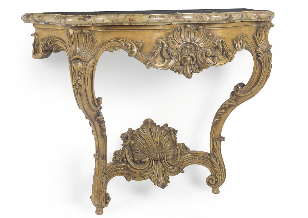 A FRENCH STAINED AND CARVED BE