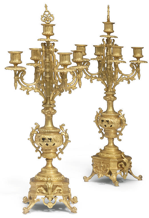 A PAIR OF FRENCH GILT-BRASS CA