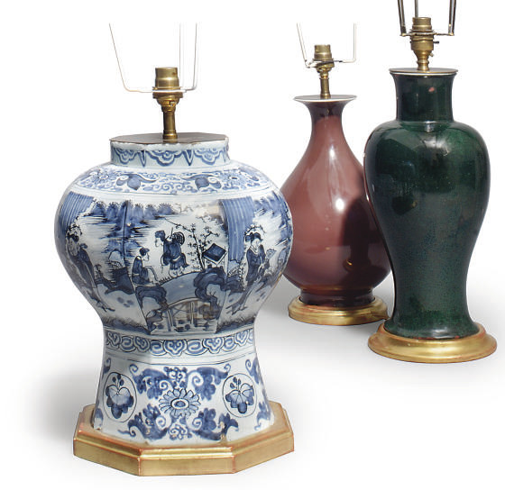 A DELFT POTTERY VASE CONVERTED