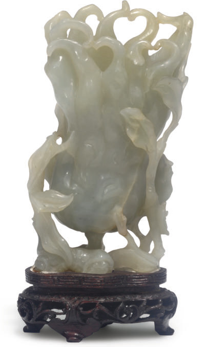 A Chinese celadon jade vase in