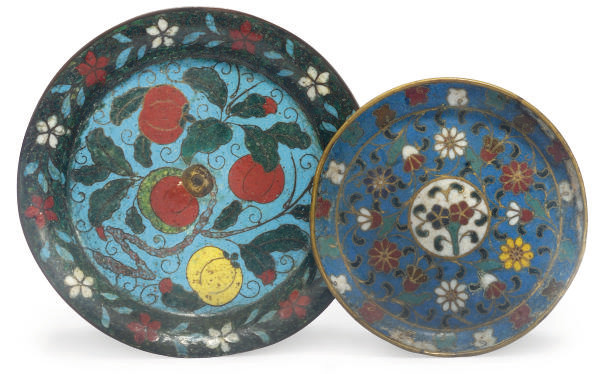 Two Chinese Cloisonne Dishes