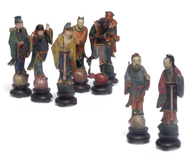 A Group of Chinese painted wood figures of the eight immortals