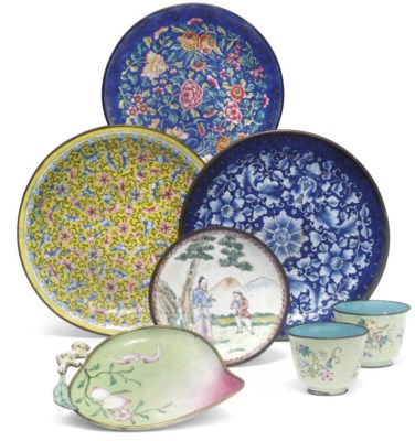 A small group of canton enamel