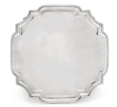 A SILVER SALVER OF SHAPED OCTA