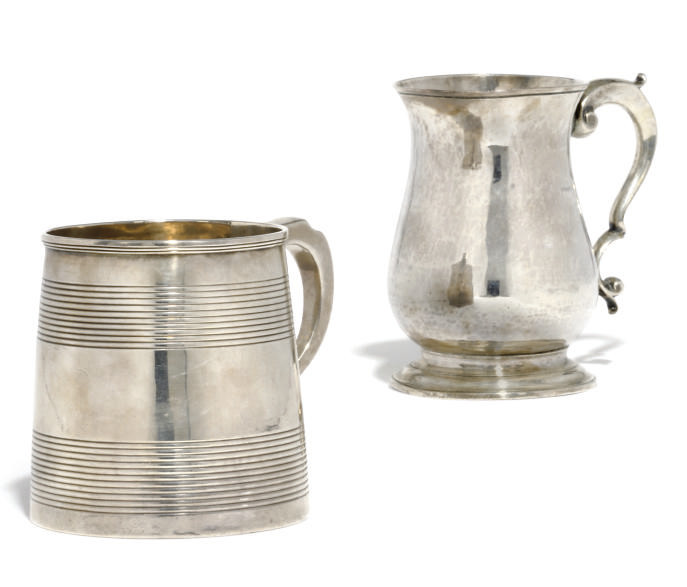 A GEORGE II SILVER MUG OF PLAI