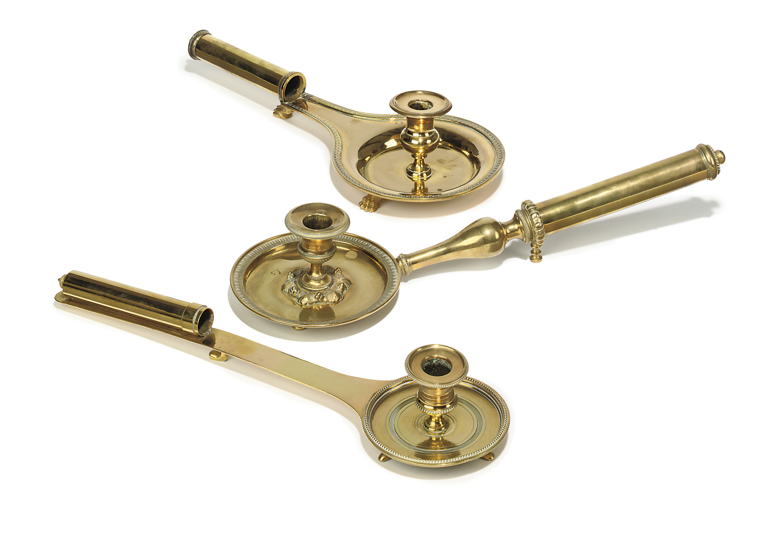 THREE EMPIRE BRASS CHAMBER-CAN
