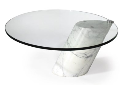 A KNOLL GLASS AND MARBLE COFFE