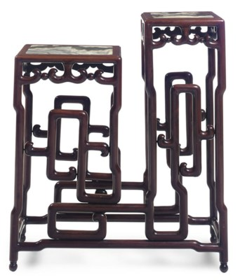 A CHINESE ROSEWOOD TIERED JARD