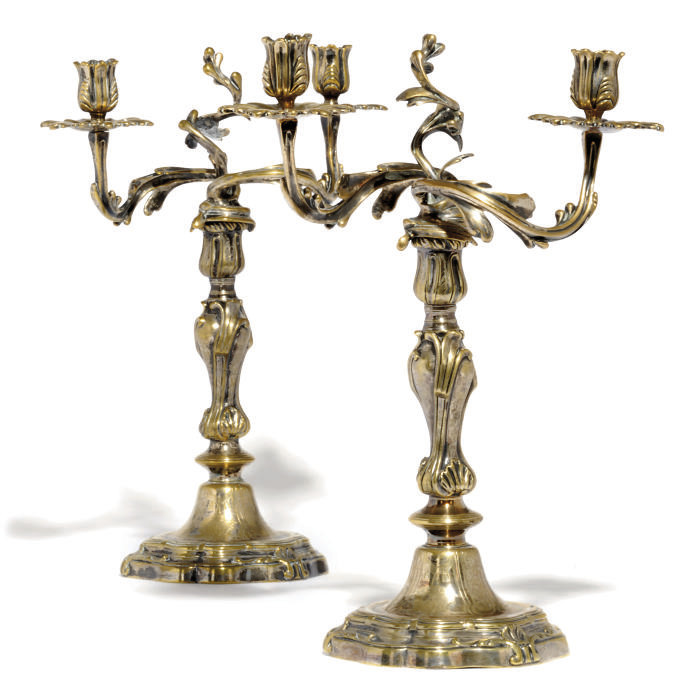 A PAIR OF FRENCH BRASS TWO-LIG