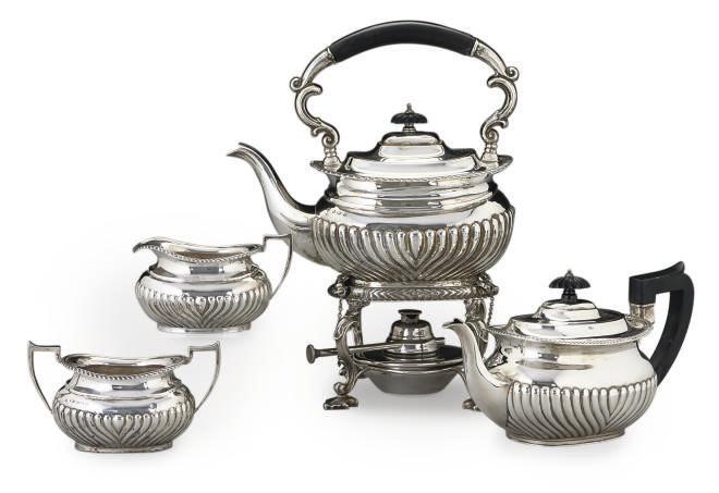 A COMPOSITE SILVER TEA SERVICE