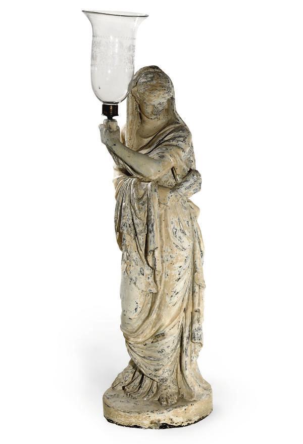 A REGENCY PLASTER FIGURAL LAMP