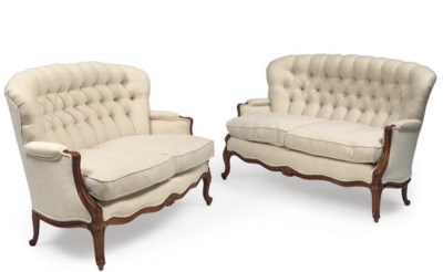 A PAIR OF FRENCH FRUITWOOD CAN