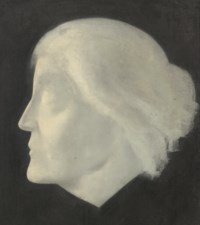 Head study of the painter and suffragette, Emily Ford, in profile to the left