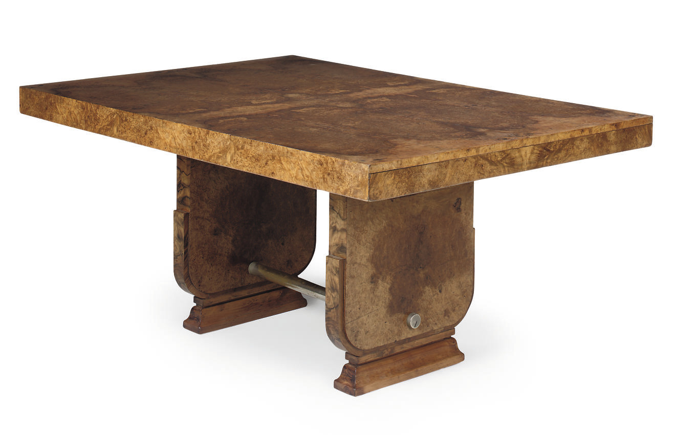 AN ART DECO BURR WALNUT DINING