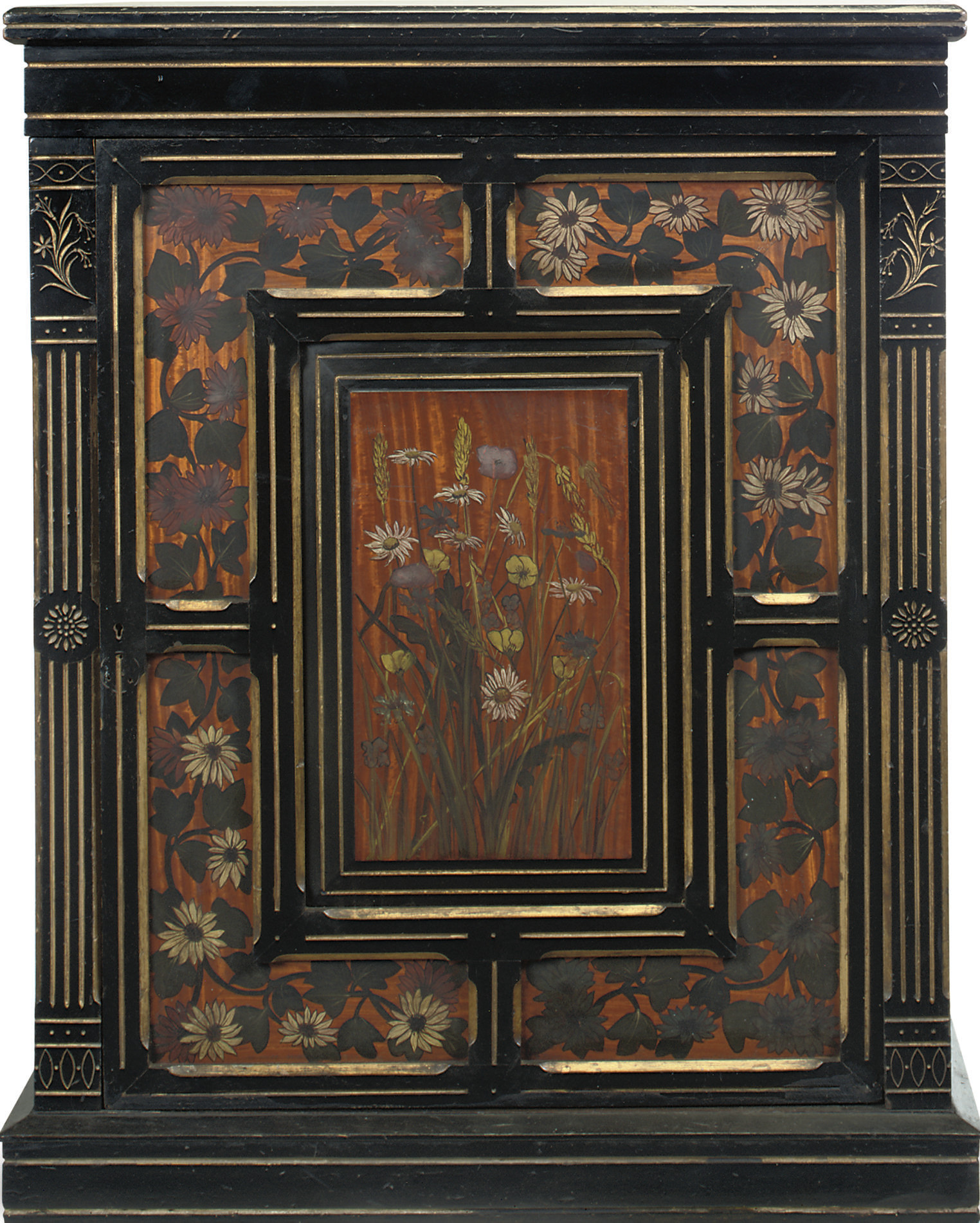 A VICTORIAN EBONISED, SATINWOO