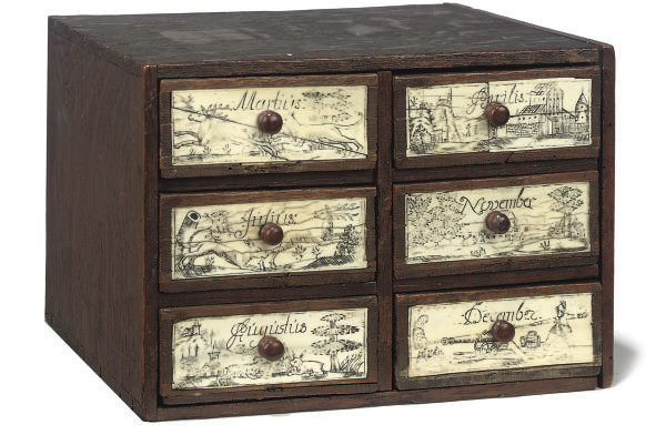 A GERMAN OAK MINIATURE CHEST O