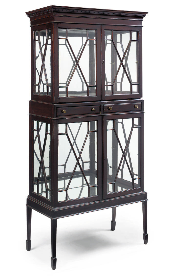 AN EDWARDIAN MAHOGANY DISPLAY