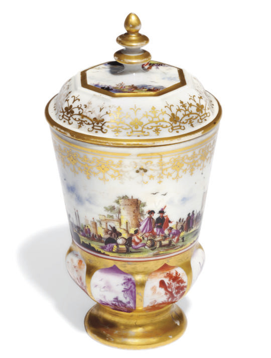 A MEISSEN-STYLE BEAKER AND COV
