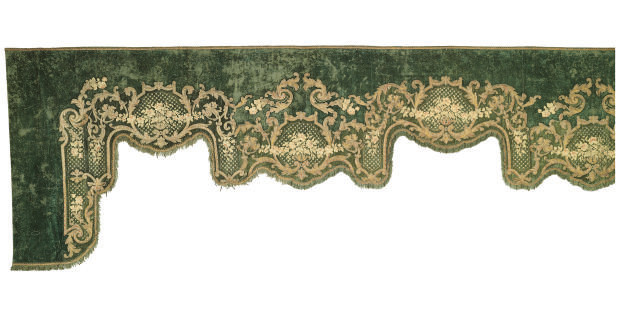 A FINE AND LARGE GREEN SILK VE