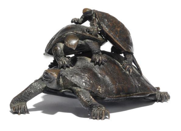 A Japanese okimono of a turtle