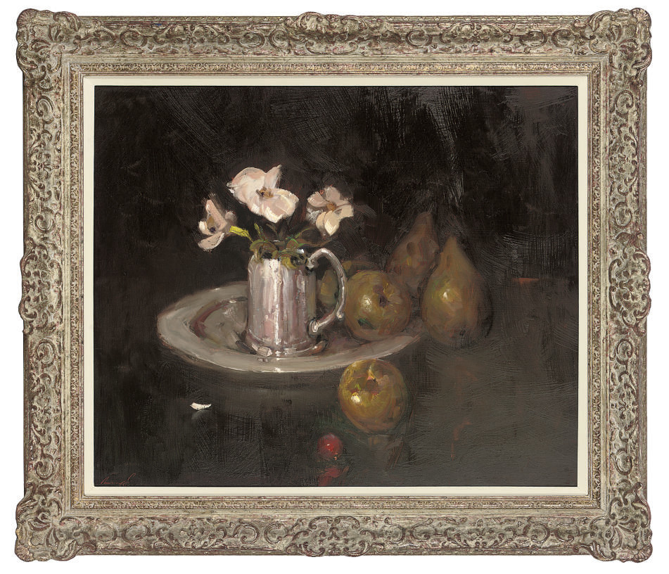 Flowers in a silver pitcher, with apples and pears to the side