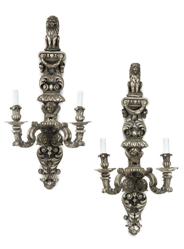 A PAIR OF SILVERED WOOD TWIN-L