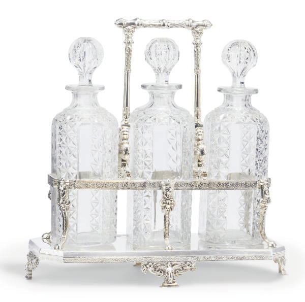 A SILVER-PLATED AND CUT-GLASS